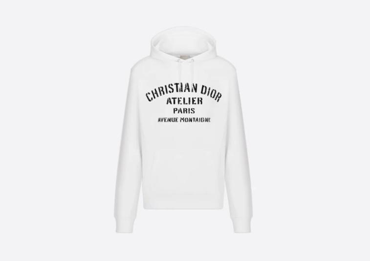 Mens Christian Dior White Atelier Hoodie - Medium (Retail - ,450)