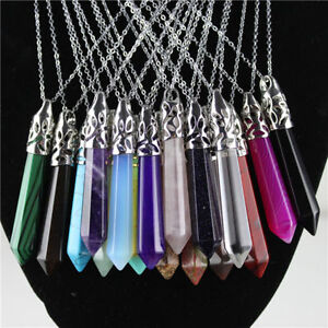 Gemstone-Rock-Natural-Crystal-Quartz-Healing-Chakra-Stone-Pendant-Necklace-Lot