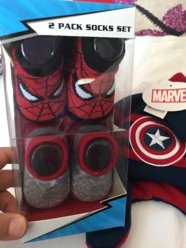 Captain America  Marvel Socks  Hat Glove Set 0-12 Months Marvel ABG Baby NEW