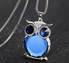 Kristall blauen Eulenkette Silber Gold Eule Uhu Owl Anhänger Pullover Halskette