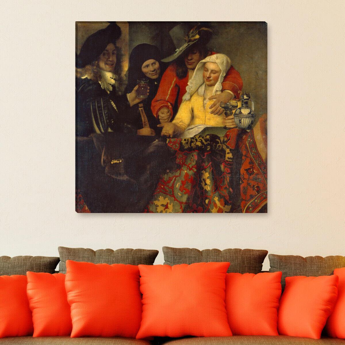 WANDKINGS Leinwandbild Jan Vermeer -  bei der Kupplerin