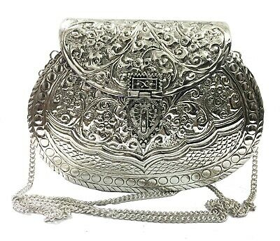 Silver brass Women party gift bridal Sling bag,Antique metal Ethnic Hand clutch
