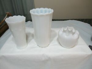 3-LOT-VTG-FENTON-VASE-WHITE-ROSE-BOWL-PANEL-HOBNAIL-SCALLOP-EDGES-OPALESCENT-81