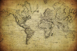 A3 420x297mm vintage look world map poster free uk post image is loading a3 420x297mm vintage look world map poster free gumiabroncs Gallery