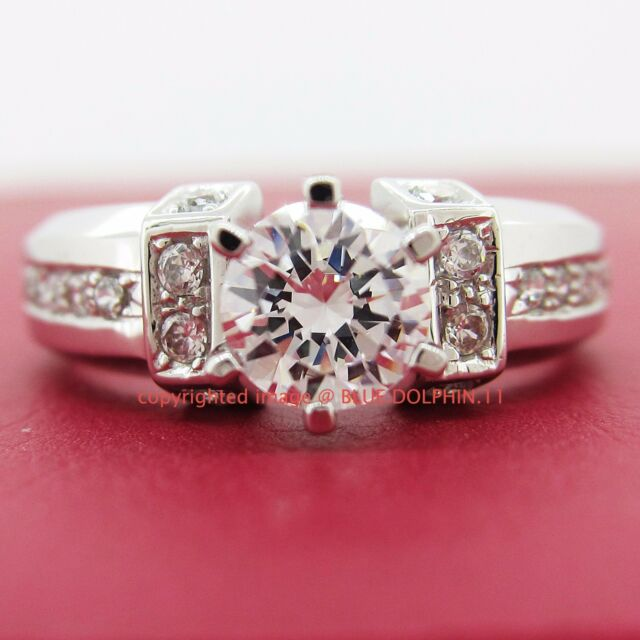 Antique Genuine Real Solid 9ct White Gold Engagement Wedding Rings Lab Diamonds