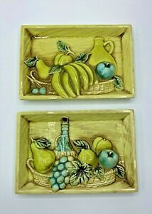 Lefton-Japan-Set-of-Kitchen-Wall-Plaques-Turquoise-Chartreuse-Fruit-Wine-4690