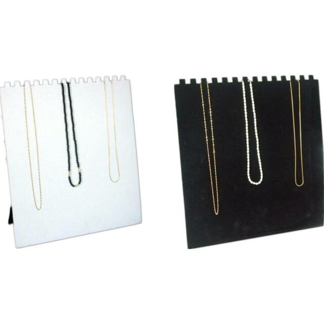 Black & White 14 Slot Necklace Easel Jewelry Showcase Display Kit 2 Pcs