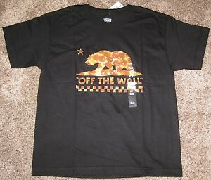 d704bfc0f54 New Vans Off the Wall Boys Pizza Checkerboard Short Sleeve Tee Top ...