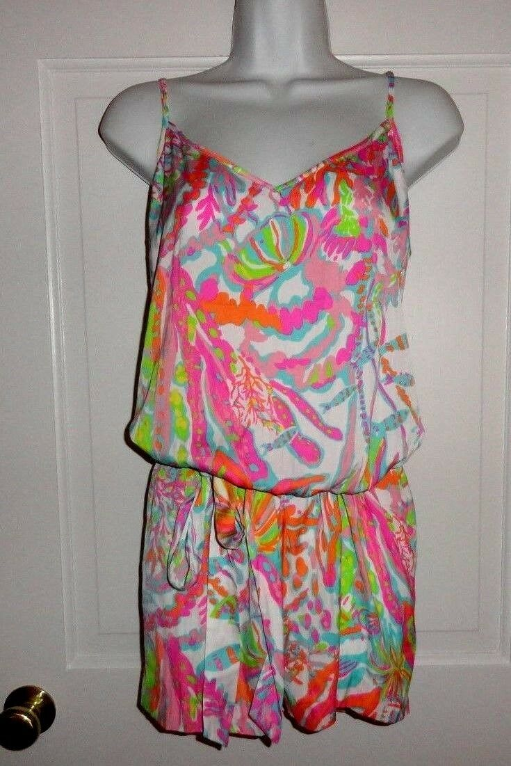 NWT LILLY PULITZER RESORT WHITE SCUBA TO CUBA WHITE DEANNA ROMPER LARGE