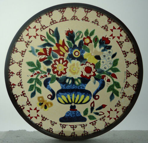 Glassmasters MMA AMB Quilt Design Floral Vase Art Glass Suncatcher