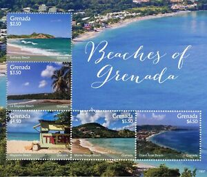 Initiative Grenade 2019 Neuf Sans Charnière Plages Grand Anse Beach 5 V M/s Tourisme Paysages Timbres