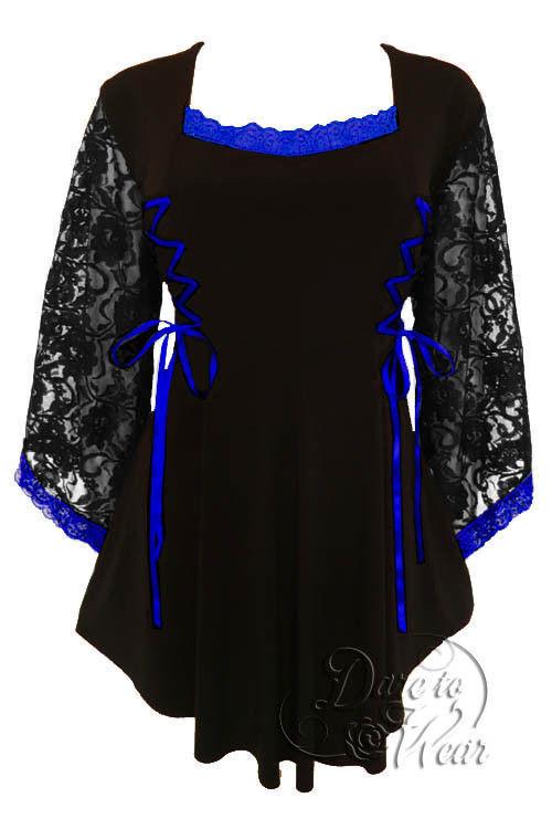 Dare to Wear Victorian Gothic Plus Größe Anastasia Corset Top schwarz Royal Blau