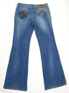EUC-Dolce-Gabbana-Women-039-s-Flare-Jeans-Size-29-Low-Rise-Embroidered-Hippie-Jeans