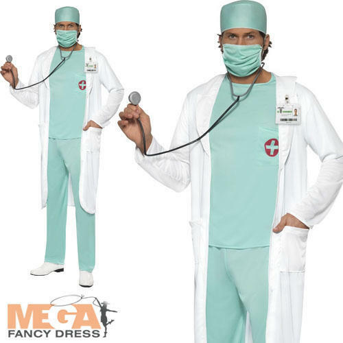 Doctor Surgeon Mens Ladies Fancy Dress Adult Uniform Costume Outfit Mask New