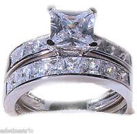 3.75 Ct Princess Cut Cz Wedding Engagement Ring Set Matching Bands Sizes 5-11