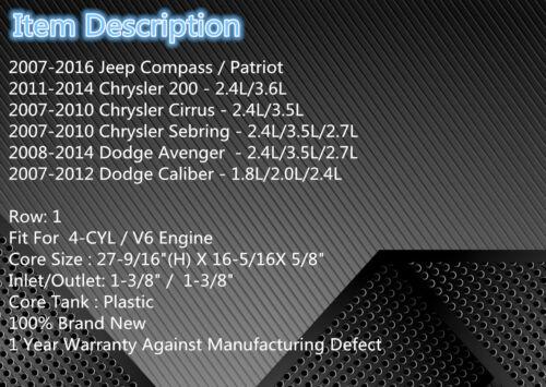 Patriot 2.0L 2.4L 2008 2009 2010 15 2951 Radiator For 2007-2016 Jeep Compass