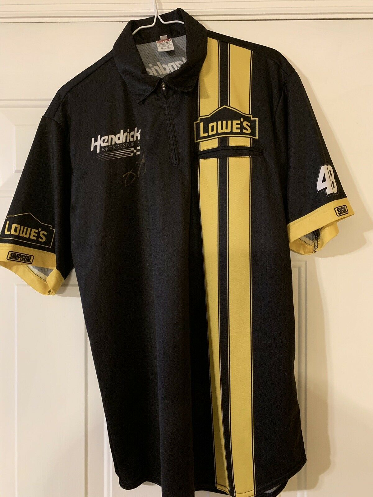 2013 Jimmie Johnson Lowes Lowes Lowes Autographed Daytona Yellow Race Used Crew Shirt 28c0fc