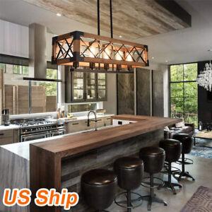 5 Lights Farmhouse Kitchen Island Light Pendant Chandelier Ceiling Fixture Wood Ebay