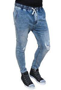 Pantaloni-uomo-Jeans-Basic-blu-denim-in-cotone-elastico-slim-fit-da-42-a-52