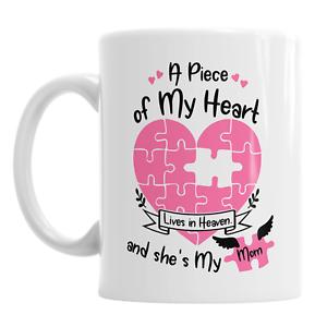 Un morceau de mon cœur vit dans le ciel et elle est ma Mère Mum Mummy Mother/'s Day Mug