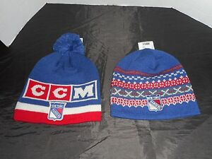 65dffb355 Details about LOT OF 2 NWT CCM HOCKEY NHL NEW YORK RANGERS WINTER HATS /  BEANIES *FREE SHIP!!