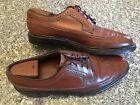 FLORSHEIM Royal Imperial Pebbled Wingtip Oxfords 9.5 D 5 Nail V Cleat Two Rows
