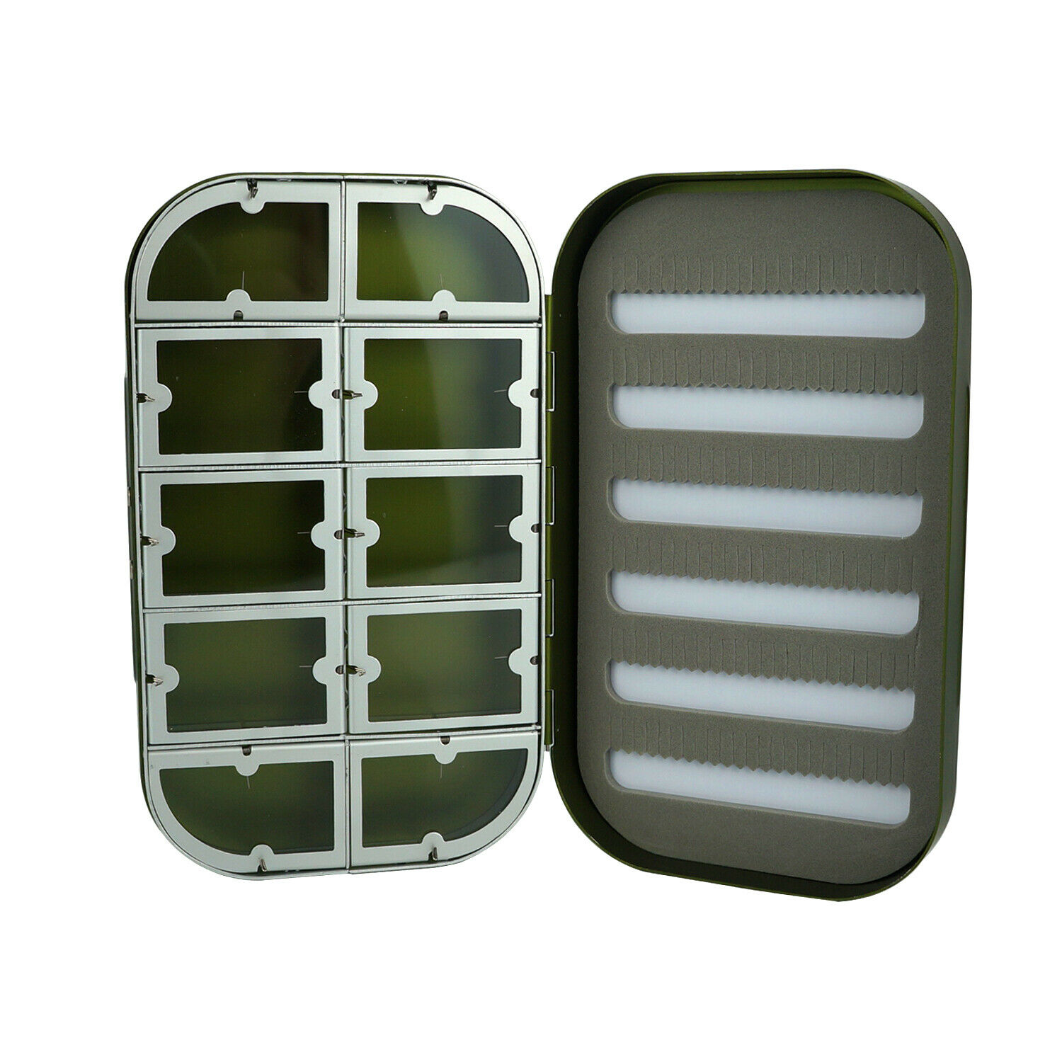 Aventik Aluminum Fly Fishing Box Slit Foam with Compartments//Easy Grip Flies Jig