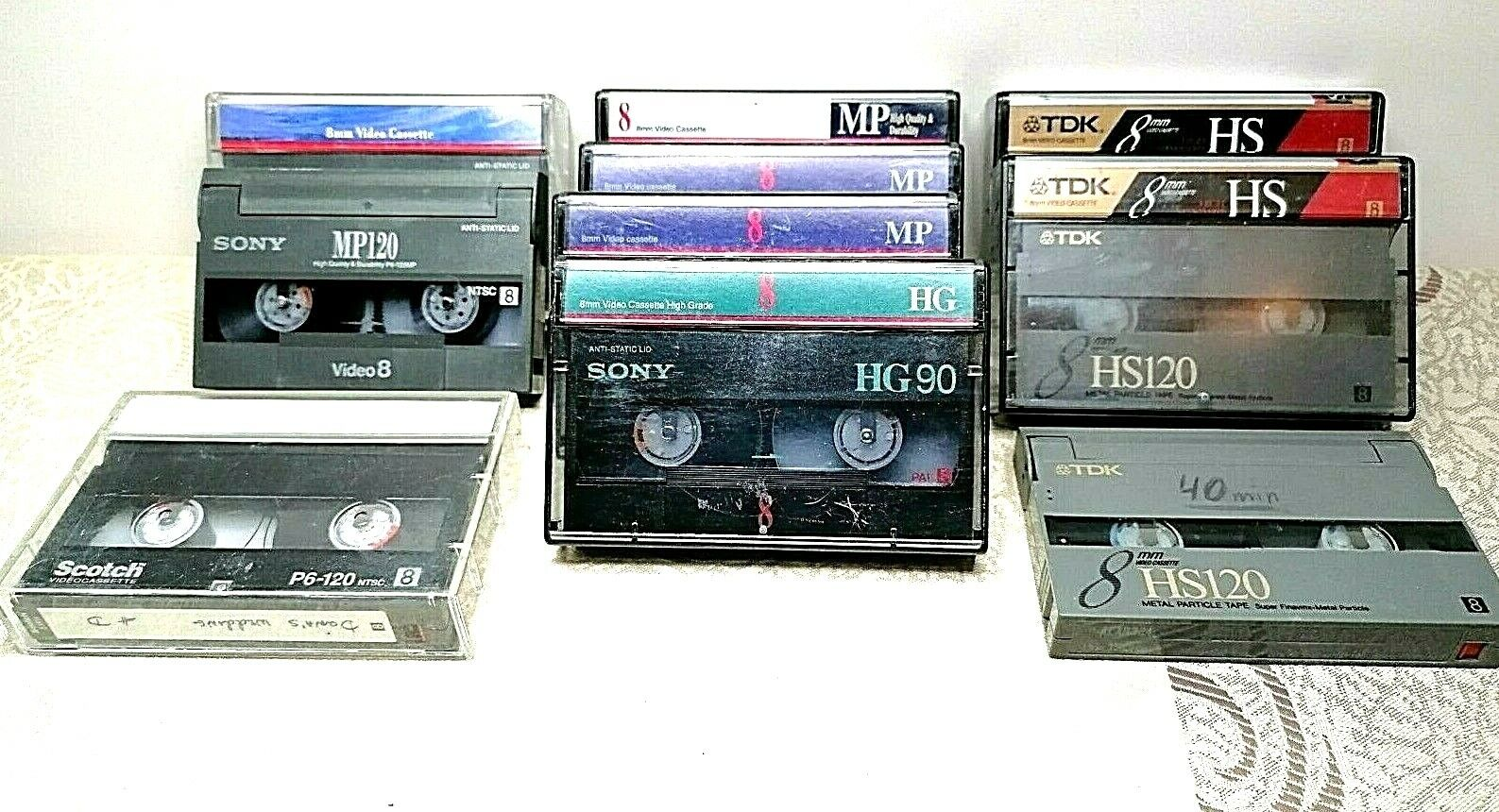 CamCorder 8mm video cassettes Lot of 10 3TDK HS120 6SONY MP120 MP90 HG90 Scotch