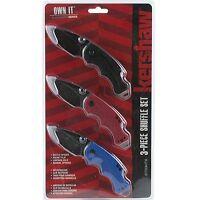 Kershaw Black Blue Red Handle Shuffle Linerlock Pocket Knives Set Of 3