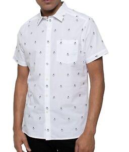 Kenneth-Cole-Mens-Shirt-White-Size-XL-Button-Down-Penguin-Chest-Pocket-69-033