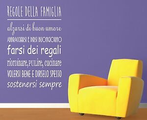 Wall Stickers Adesivi Murali Frase Regole Della Famiglia Parete