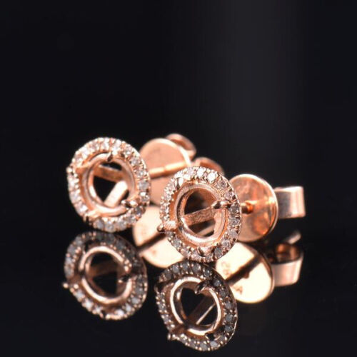 Details about  /Natural Diamond Semi Mount Earrings Stud Setting Round 6mm Solid 14K Rose Gold