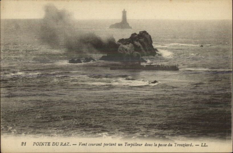 Pointe du Raz Lighthouse & Ship c1910 Postcard