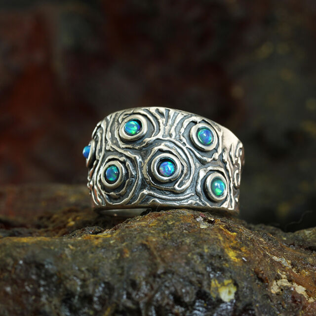 Sterling Silver Blue Fire Opal Band Ring Size 6 7 8 Women Artisan Jewelry R007OP