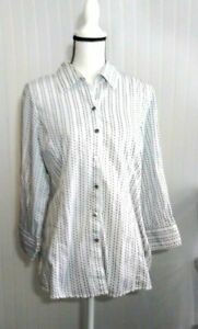 Austin Reed Women S Shirt Size 14 White Black Vertical Stripe Long Sleeves Ebay