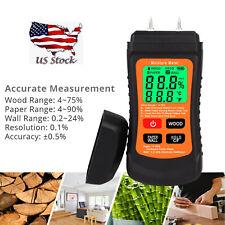 Digital Lcd Humidity Wood Moisture Meter Firewood Paper Wall Electrode Detector