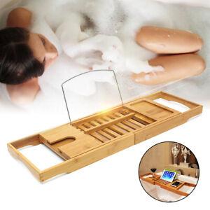 Extendable-Bamboo-Bath-Shelf-Caddy-Wine-Glass-Holder-Tray-Bathtub-Rack-Storage