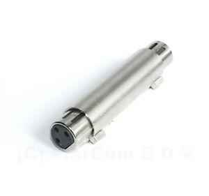 Audio-Adapter-XLR-Buchse-gt-XLR-Buchse-Kupplung-Metall-Mikrofon-3-pol