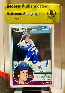 Ryne Sandberg Auto Signed 1983 Topps #83 Rookie Cubs RC HOF Beckett BAS
