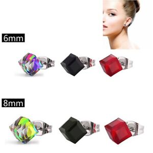 Women-Elegant-Crystal-Rhinestone-Ear-Stud-Square-Cube-Earrings-Stylish-Jewelry