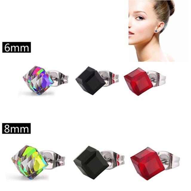 Women Elegant Crystal Rhinestone Ear Stud Square Cube Earrings Stylish Jewelry