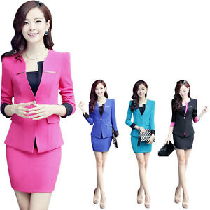 Fashion Korean Office Women's Sexy Slim Business Suit ...