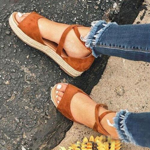 Women Ankle Strap Flatform Sandals Espadrilles Flats Platform Wedges Shoes Size