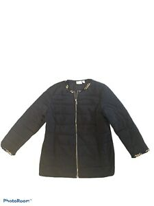Chico-s-Quilted-Chain-Trim-Jacket-Black-Size-2-M