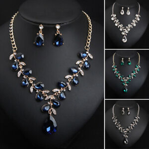 Fashion-Crystal-Leaf-Necklace-Earrings-Set-Women-039-s-Bridal-Wedding-Jewelry-Gifts