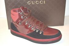 $750 GUCCI Softy Tek High Top Sneakers red/black  368496 size US 11