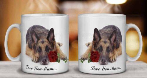 German Shepherd+Rose /'Love You Mum/' Coffee//Tea Mug Gift Idea AD-GS1RlymMG