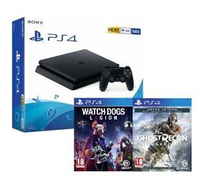 PS4 500GB SLIM BLACK HDR + WATCH DOGS LEGION + GHOST RECON AUROA EDITION - SONY