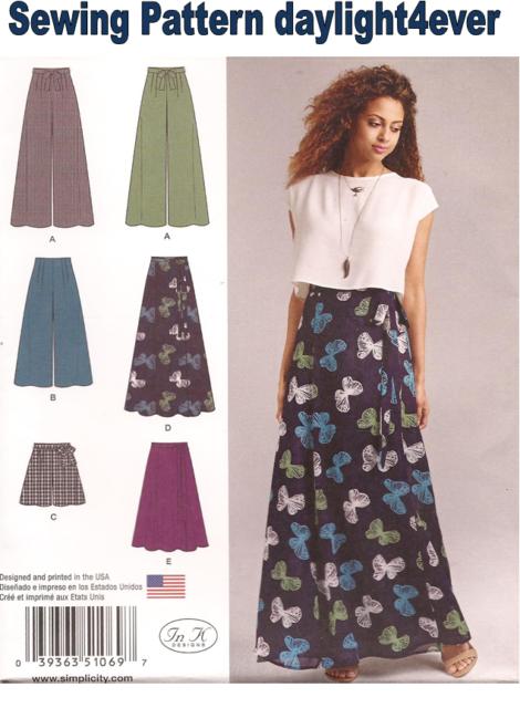 Women Skirt 2 Lengths Wide Leg Pants Shorts Sewing Pattern 1069 Size