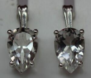 Edle-3-6-Carat-Bergkristall-Ohrstecker-925-Silber-weisser-Edelstelstein-Top